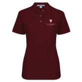 Ladies Easycare Cardinal Pique Polo-Clinton Stacked Logo