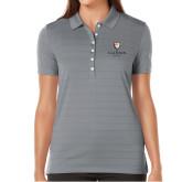 Ladies Callaway Opti Vent Steel Grey Polo-Clinton Stacked Logo