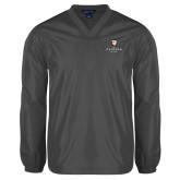 V Neck Charcoal Raglan Windshirt-Clinton Stacked Logo