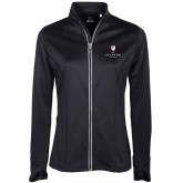 Ladies Callaway Stretch Performance Black Jacket-Clinton Stacked Logo