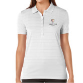Ladies Callaway Opti Vent White Polo-Clinton Stacked Logo