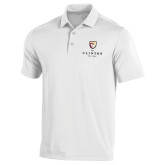 Under Armour White Performance Polo-Clinton Stacked Logo