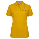 Ladies Easycare Gold Pique Polo-Clinton Stacked Logo