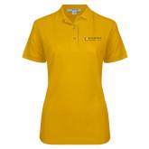 Ladies Easycare Gold Pique Polo-Clinton Horizontal Logo