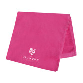 Pink Beach Towel-Clinton Stacked Logo
