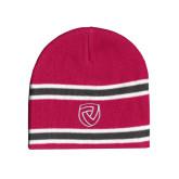 Pink/Charcoal/White Striped Knit Beanie-Clinton Shield Logo