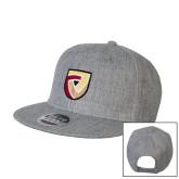 Heather Grey Wool Blend Flat Bill Snapback Hat-Clinton Shield Logo