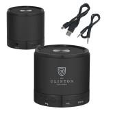 Wireless HD Bluetooth Black Round Speaker-Clinton Stacked Logo Engraved