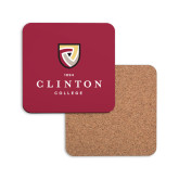 Hardboard Coaster w/Cork Backing-Clinton Stacked Logo