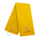 Gold Golf Towel-Clinton Stacked Logo