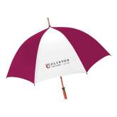 62 Inch Cardinal/White Umbrella-Clinton Horizontal Logo