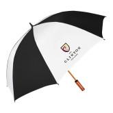 62 Inch Black/White Vented Umbrella-Clinton Stacked Logo