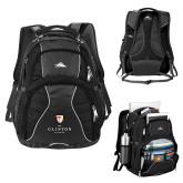 High Sierra Swerve Black Compu Backpack-Clinton Stacked Logo