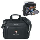 Kenneth Cole Black Vertical Checkpoint Friendly Messenger-Clinton Stacked Logo