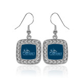 Crystal Studded Square Pendant Silver Dangle Earrings-Primary Mark