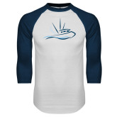 White/Navy Raglan Baseball T Shirt-Icon