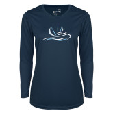 Ladies Syntrel Performance Navy Longsleeve Shirt-Icon