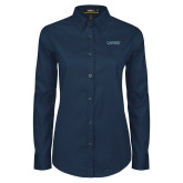 Ladies Navy Twill Button Down Long Sleeve-Wordmark