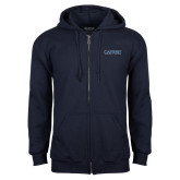 Navy Fleece Full Zip Hoodie-Wordmark