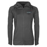 Ladies Sport Wick Stretch Full Zip Charcoal Jacket-Wordmark