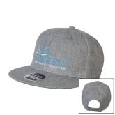 Heather Grey Wool Blend Flat Bill Snapback Hat-Primary Mark