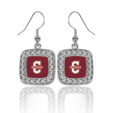 Crystal Studded Square Pendant Silver Dangle Earrings-Official Logo - C Charleston