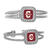Crystal Studded Cable Cuff Bracelet With Square Pendant-Official Logo - C Charleston