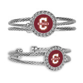 Crystal Studded Cable Cuff Bracelet with Round Pendant-Official Logo - C Charleston