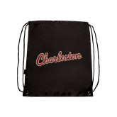 Black Drawstring Backpack-Charleston Script