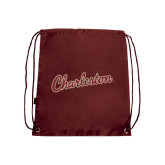 Maroon Drawstring Backpack-Charleston Script