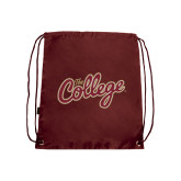 Maroon Drawstring Backpack-The College Script