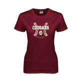 Ladies Maroon T Shirt-Baseball Ball Design