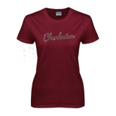 Ladies Maroon T Shirt-Charleston Script Rhinestones
