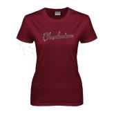 Ladies Maroon T Shirt-Charleston Script Rhinestones