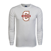 White Long Sleeve T Shirt-Official Logo - C Charleston