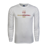White Long Sleeve T Shirt-Basketball Net Design