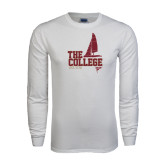 White Long Sleeve T Shirt-Sail Boat Design