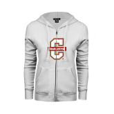 ENZA Ladies White Fleece Full Zip Hoodie-Official Logo - C Charleston