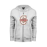 ENZA Ladies White Fleece Full Zip Hoodie-Official Logo - C Charleston