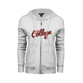 ENZA Ladies White Fleece Full Zip Hoodie-The College Script