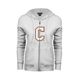 ENZA Ladies White Fleece Full Zip Hoodie-C