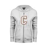 ENZA Ladies White Fleece Full Zip Hoodie-C