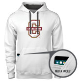 Contemporary Sofspun White Hoodie-Official Logo - C Charleston