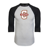White/Black Raglan Baseball T-Shirt-Official Logo - C Charleston