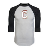 White/Black Raglan Baseball T-Shirt-C