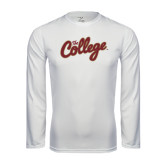 Performance White Longsleeve Shirt-The College Script