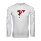 Performance White Longsleeve Shirt-CC Sailing Flag Rising