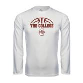 Performance White Longsleeve Shirt-Basketball Ball Design