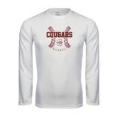 Performance White Longsleeve Shirt-Baseball Ball Design