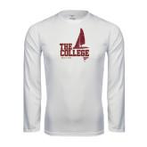 Performance White Longsleeve Shirt-Sail Boat Design
